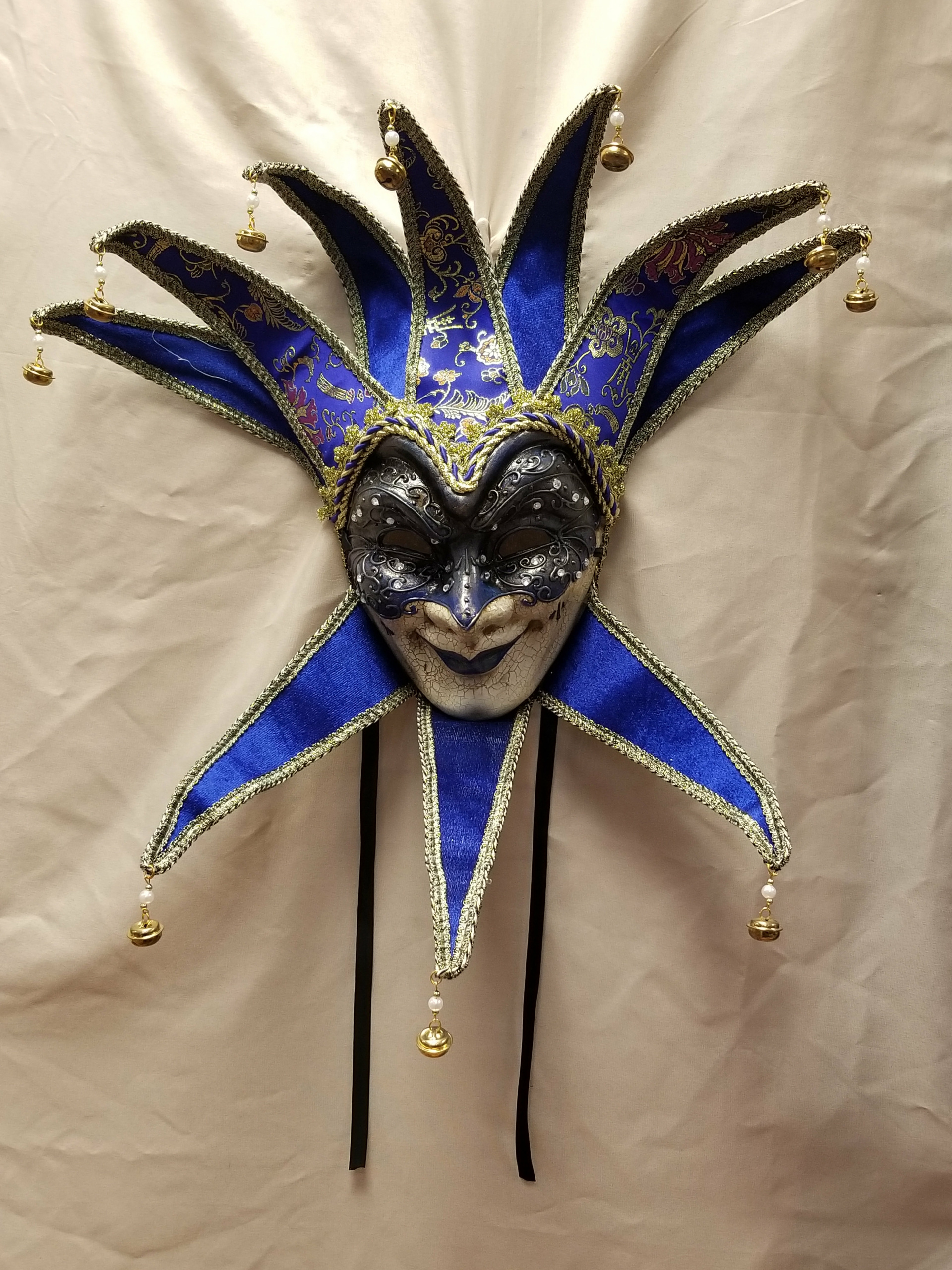 Large Wearable Cearamic Carnival Jester Mask Wall Decor